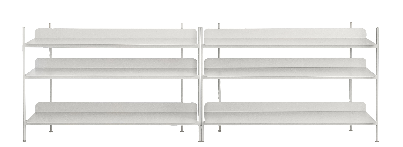 Mobilier - Etagères & bibliothèques - Etagère Compile / Métal - L 245 x H 78 cm - Muuto - Gris - Acier laqué