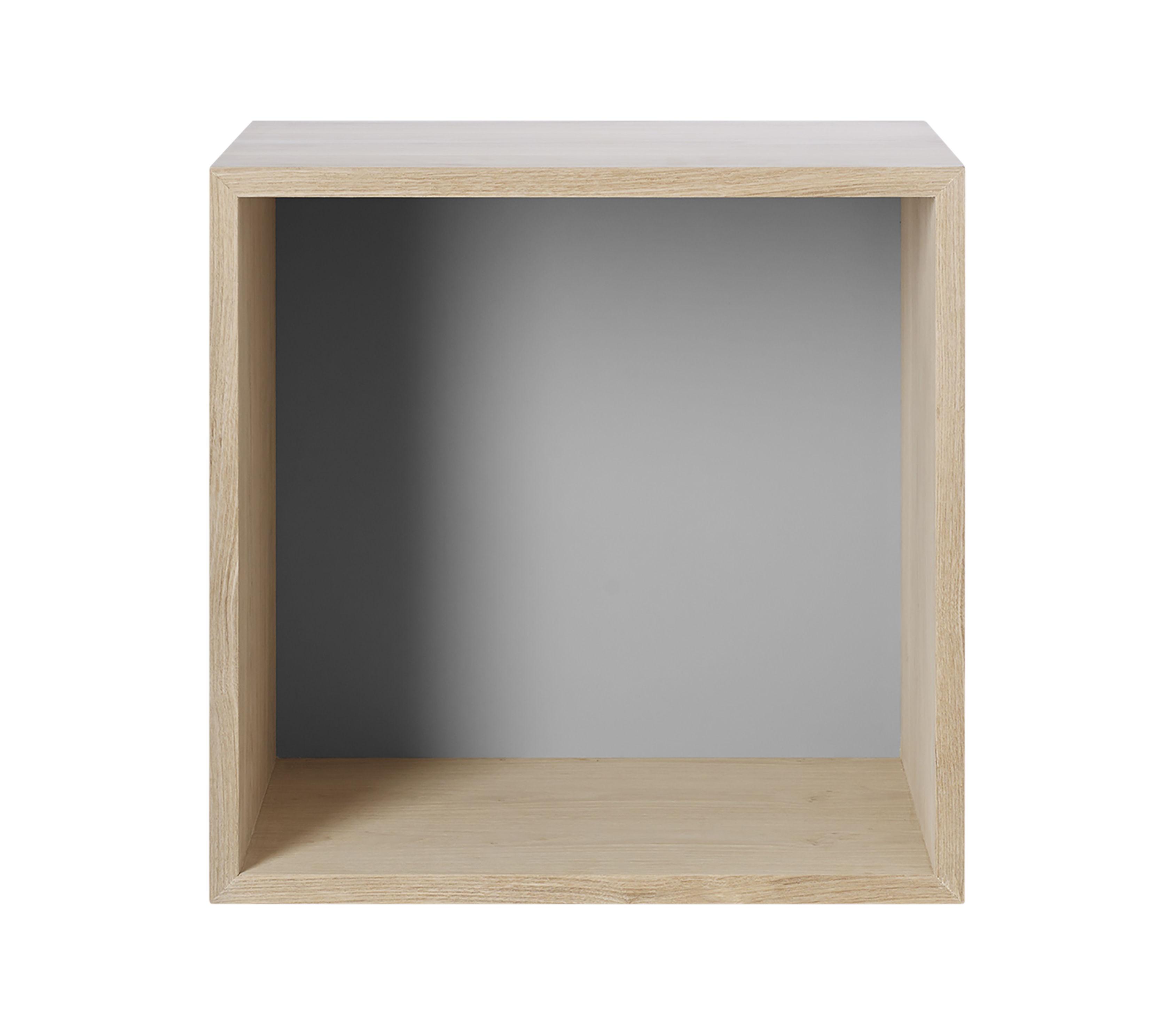 Mobilier - Etagères & bibliothèques - Etagère Mini Stacked 2.0 / Medium carré 33x33 cm / Avec fond coloré - Muuto - Chêne / Fond gris clair - MDF peint, MDF placage chêne