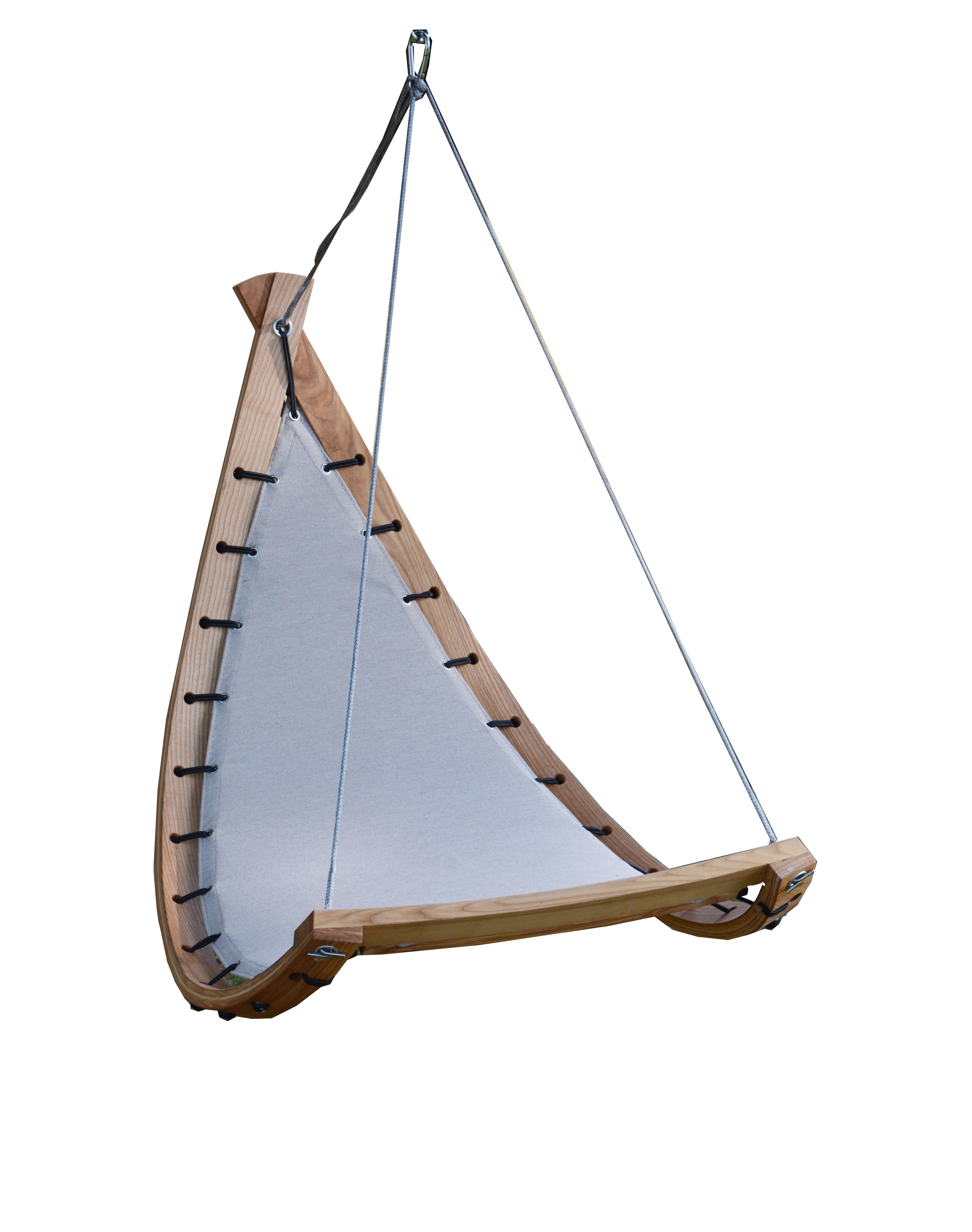 Outdoor - Chaises longues et hamacs - Fauteuil suspendu Balance / Bois & tissu - Cacoon - Fauteuil / Gris - Frêne huilé, Tissu Sunbrella