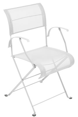Furniture - Chairs - Dune Folding armchair - / Cloth by Fermob - Cotton white - Lacquered steel, Polyester cloth
