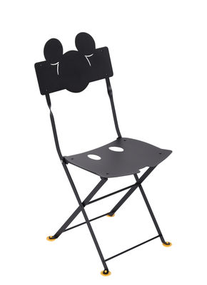 Furniture - Kids Furniture - Bistro enfant Mickey Folding chair - / Metal by Fermob - Licorice - Cataphorated steel