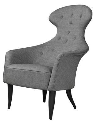Möbel - Lounge Sessel - Eva Gepolsterter Sessel / Holmquist - Neuauflage des Originals aus dem Jahr 1956 - Gubi - Grau / Fußgestell schwarz - gefärbte Buche, Kvadrat-Gewebe