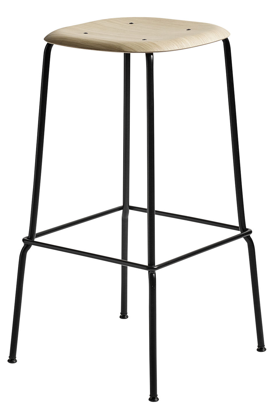 Furniture - Bar Stools - Soft Edge 30 High stool - H 75 cm / Wood & metal by Hay - Oak / Black leg - Lacquered steel, Varnished oak plywood