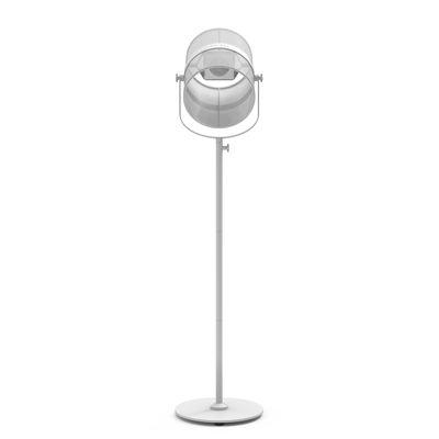 Illuminazione - Lampade da terra - Lamada da terra solare La Lampe Paris LED - / Senza filo di Maiori - Bianco / Base bianca - alluminio verniciato, Tessuto