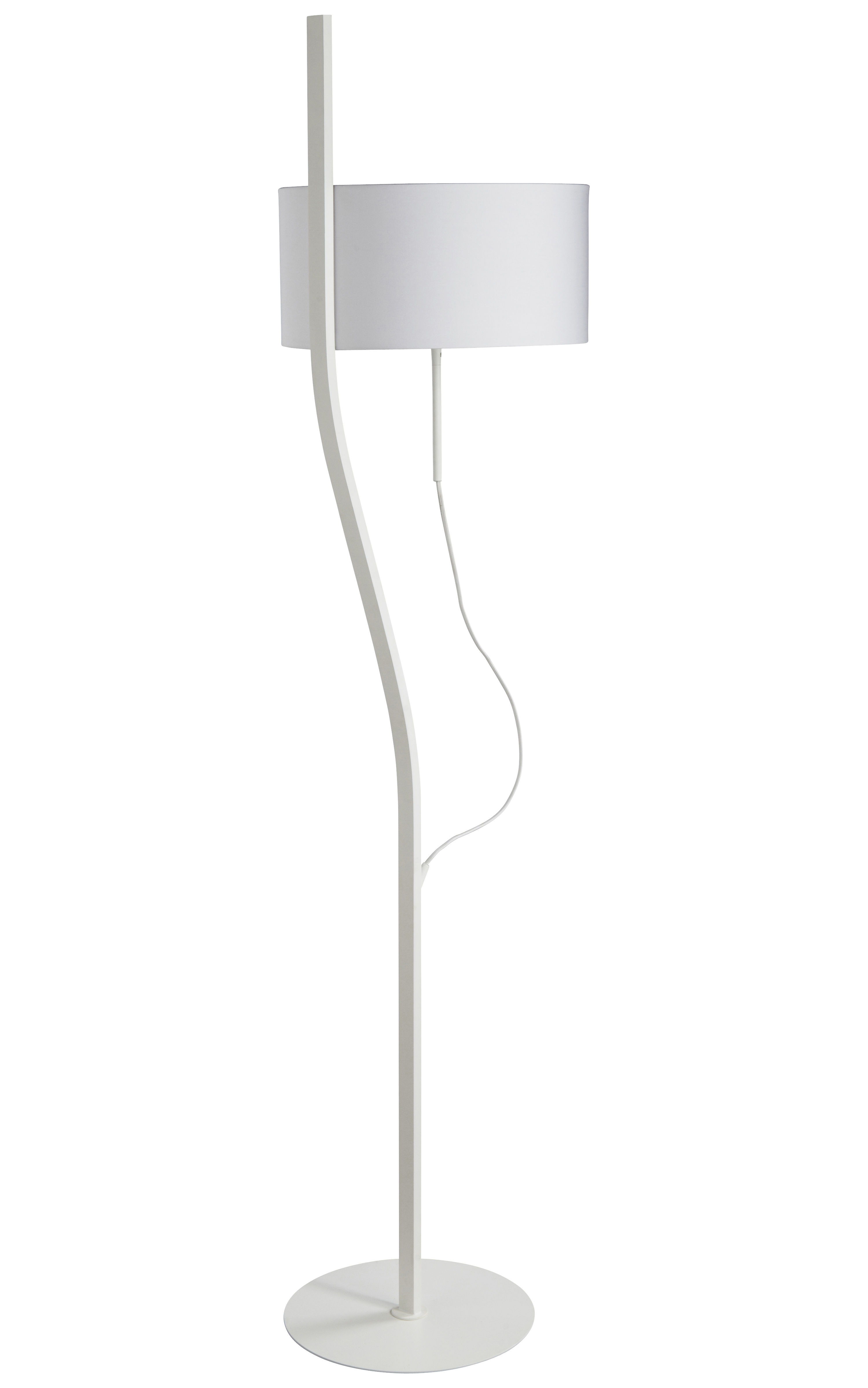 Luminaire - Lampadaires - Lampadaire Baladeuse H 170 cm - Forestier - Blanc - Coton, Métal laqué