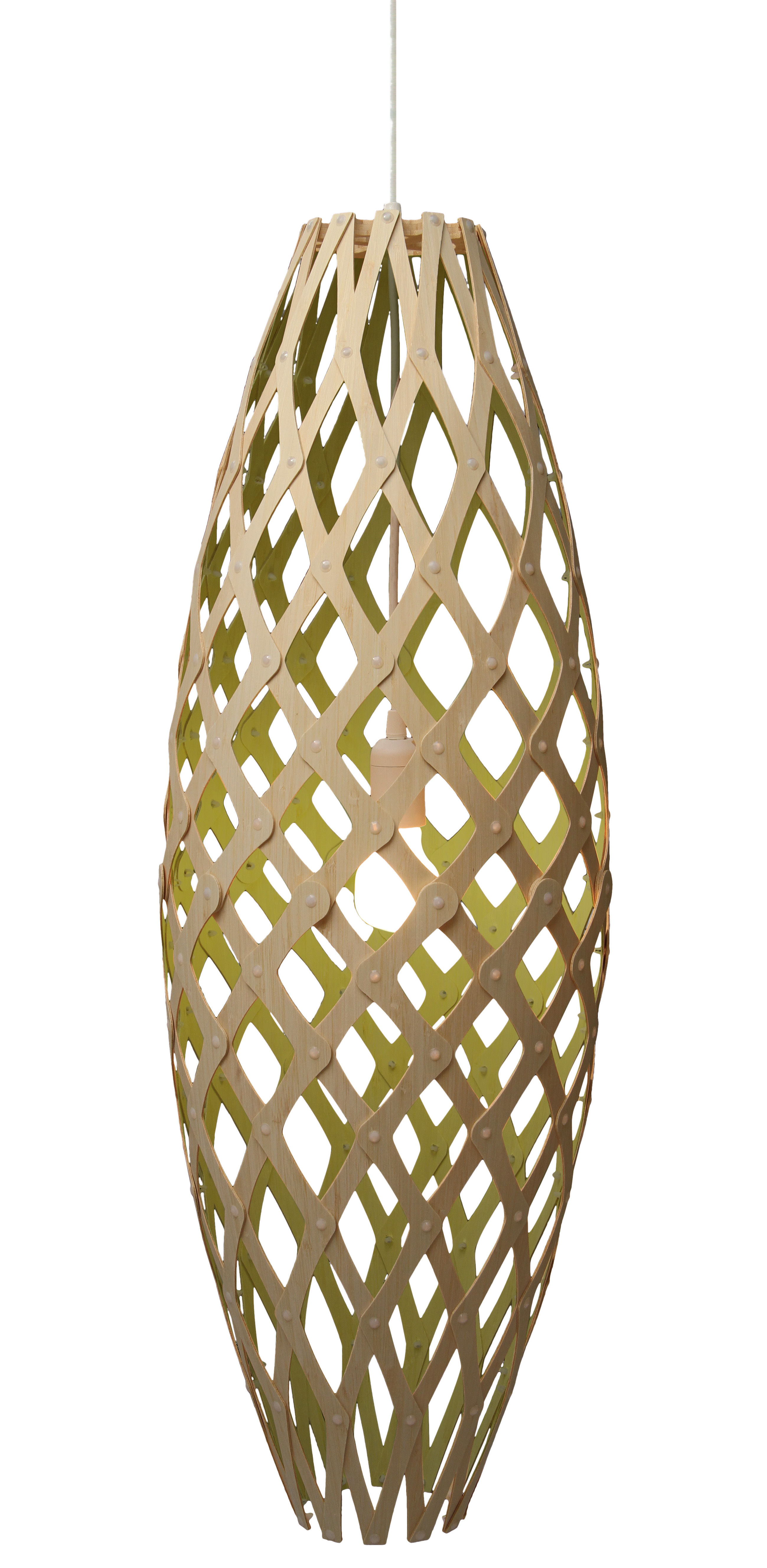 Lighting - Pendant Lighting - Hinaki Pendant - H 90 cm - Two-coloured by David Trubridge - Lime green / natural wood - Bamboo
