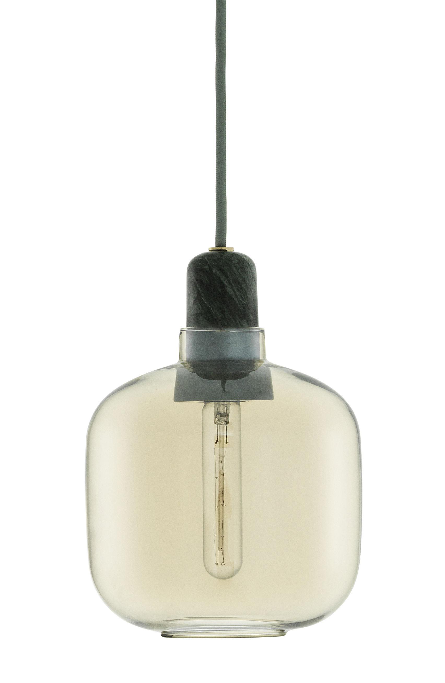Leuchten - Pendelleuchten - Amp Small Pendelleuchte / Ø 14 x H 17 cm - Normann Copenhagen - Goldfarben / Marmor jadegrün - Glas, Marmor