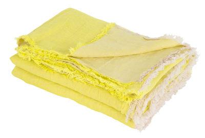 Plaid Vice Versa / 140 x 250 cm - Lin - Maison de Vacances jaune acide en tissu