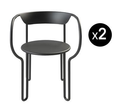 Arredamento - Sedie  - Poltrona Huggy - / Set da 2 - Alluminio di Maiori - Carbone - alluminio verniciato