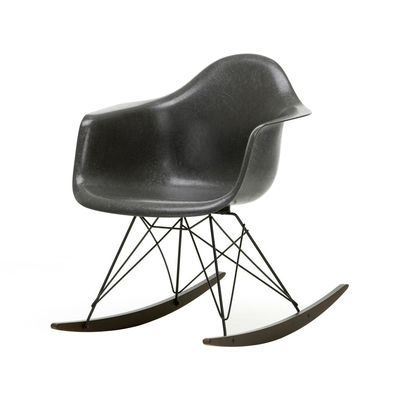 Furniture - Armchairs - RAR - Eames Fiberglass Armchair Rocking chair - / (1950) - Black legs & dark wood by Vitra - Elephant grey / Black / Dark wood - Epoxy lacquered steel, Polyester reinforced with fibreglass , Solid maple