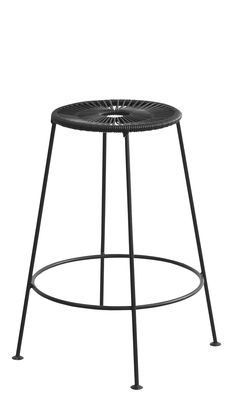 Arredamento - Sgabelli da bar  - Sgabello da bar Acapulco / H 66 cm - OK Design per Sentou Edition - Nero - Acier laqué époxy, Corde plastique