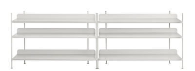 Furniture - Bookcases & Bookshelves - Compile Shelf - Metal - L 245 x H 78 cm by Muuto - Grey - Lacquered steel