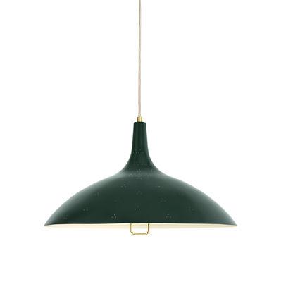 Illuminazione - Lampadari - Sospensione 1965 - / Ø 46 cm - Riedizione 1947 di Gubi - Verde - Ottone verniciato, Vetro smerigliato