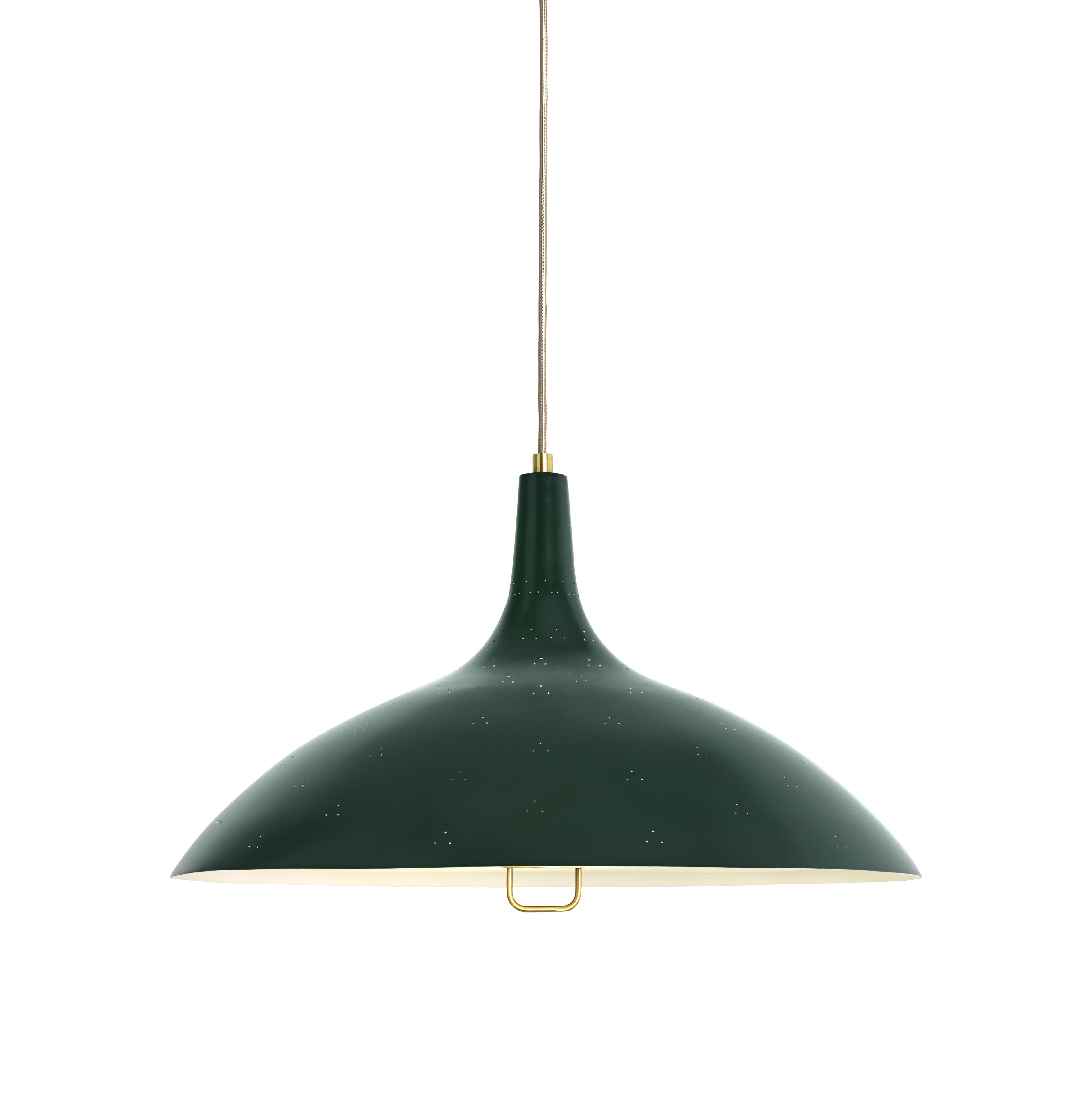 Luminaire - Suspensions - Suspension 1965 / Ø 46 cm - Réédition 1947 - Gubi - Vert - Laiton peint, Verre dépoli