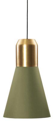 Luminaire - Suspensions - Suspension Bell Light / Ø 32 x H 53 cm - ClassiCon - Vert & laiton - Laiton, Tissu