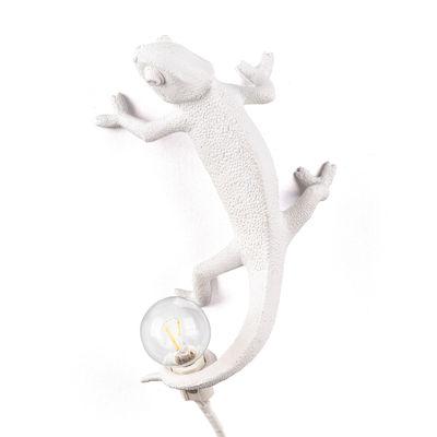 Leuchten - Tischleuchten - Chameleon Going Up Wandleuchte mit Stromkabel / Wandleuchte - Kunstharz - Seletti - Up / Weiß - Harz