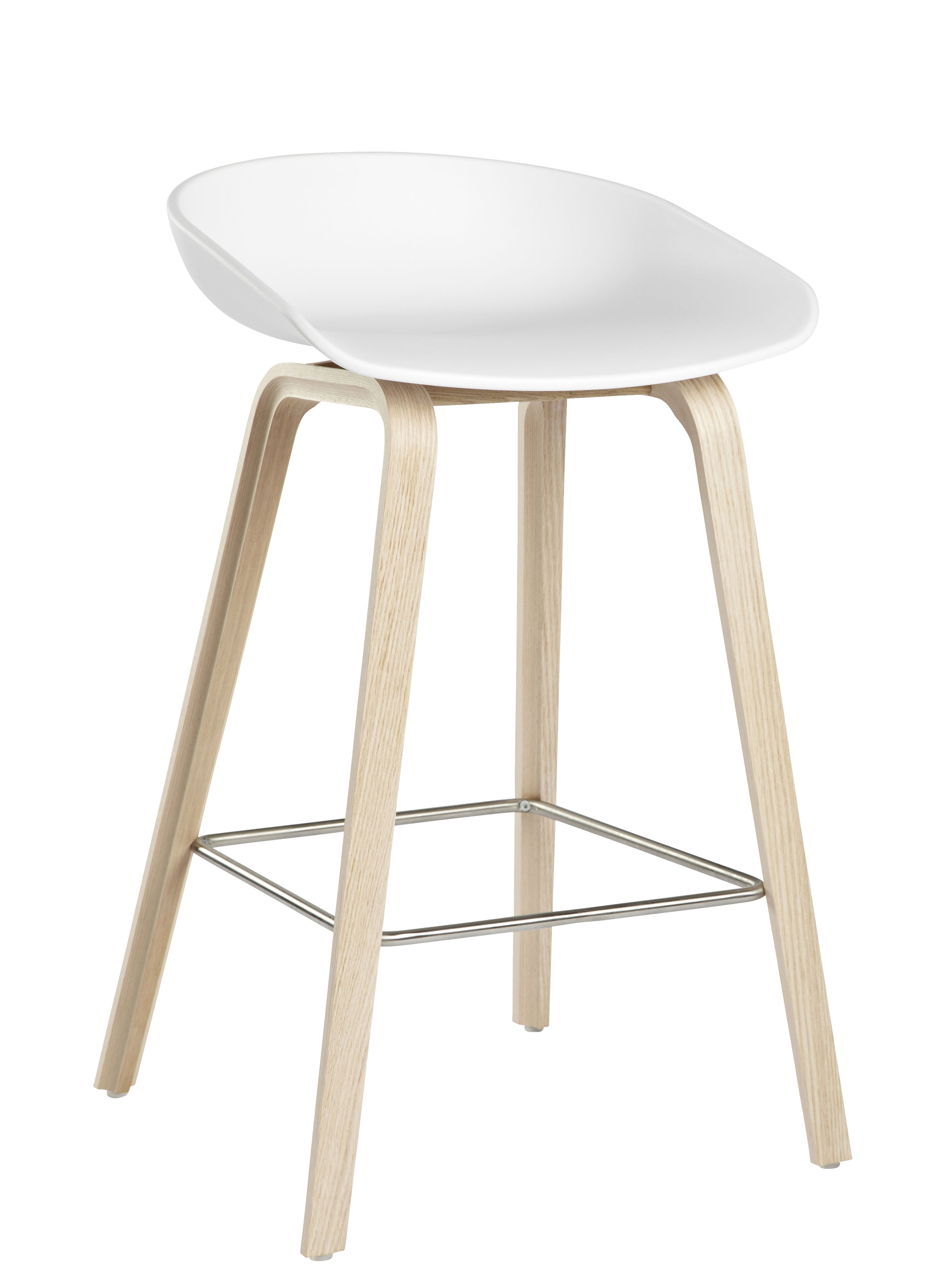Furniture - Bar Stools - About a stool AAS 32 Bar stool - H 65 cm - Plastic & wood legs by Hay - White / Natural wood legs - Natural oak, Polypropylene
