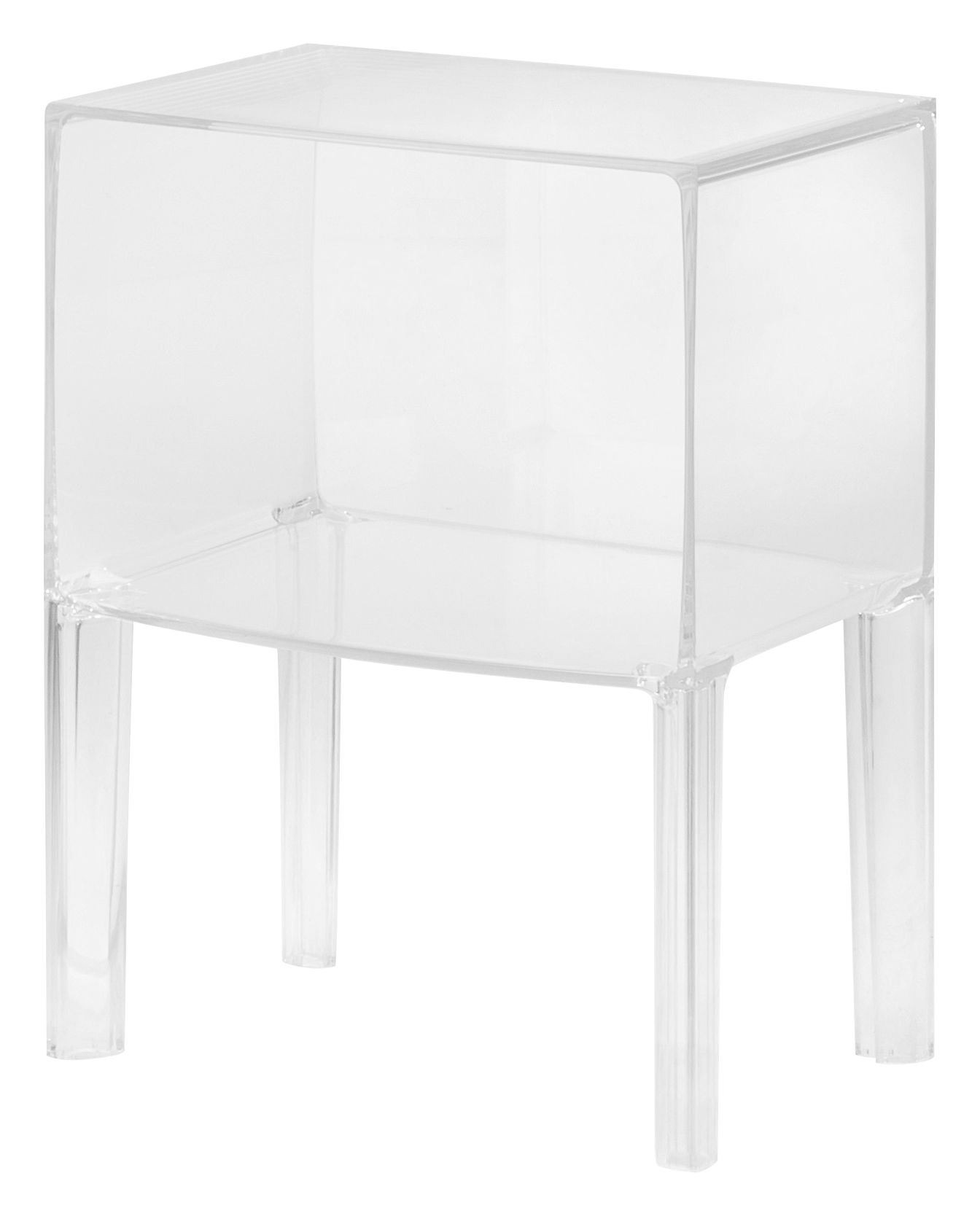 Furniture - Bedside & End tables - Small Ghost Buster Bedside table by Kartell - Cristal - PMMA