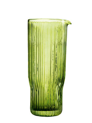 Tableware - Water Carafes & Wine Decanters - Riffle Carafe - / 1 Litre - Glass by & klevering - Green - Verre texturé