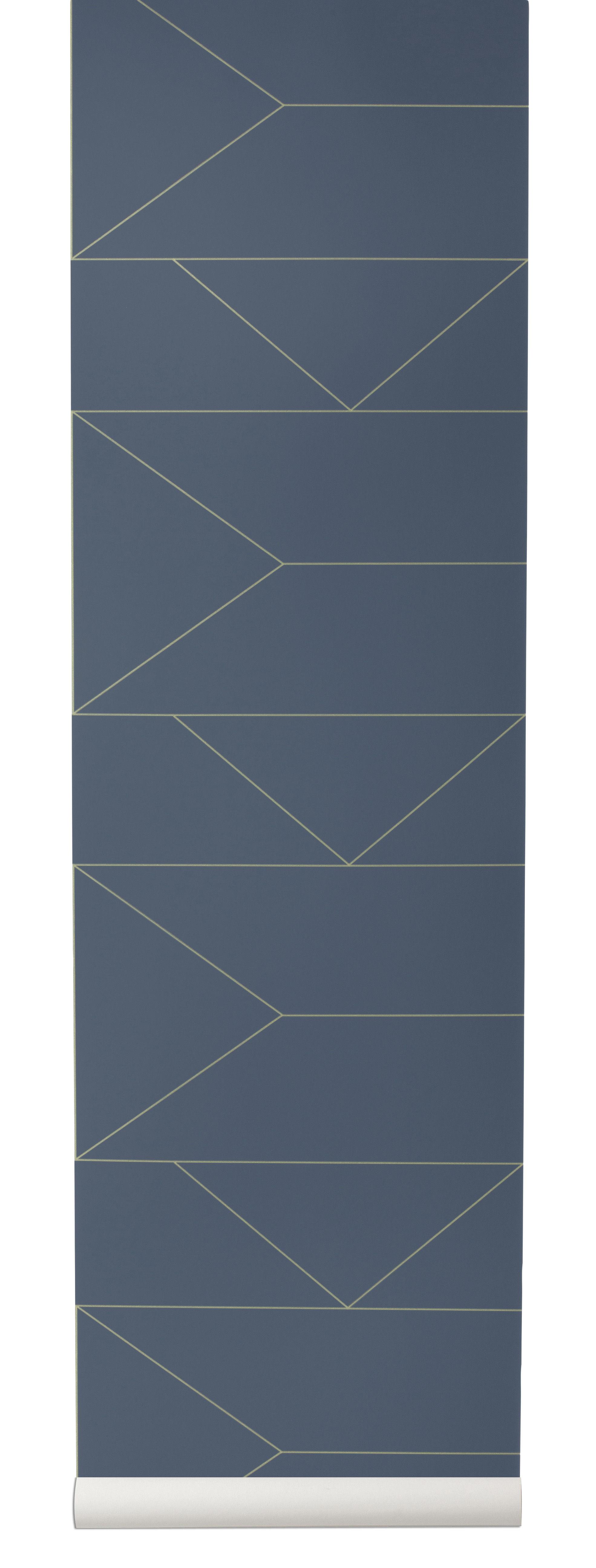 Lines carta da parati 1 rotolo larg 53 cm blu oro for Rotolo carta da parati adesiva