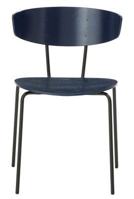 Chaise empilable Herman / Bois & métal - Ferm Living bleu foncé en métal
