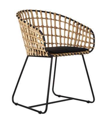 Chaise Tokyo / Rotin & métal - Pols Potten noir,beige en fibre végétale