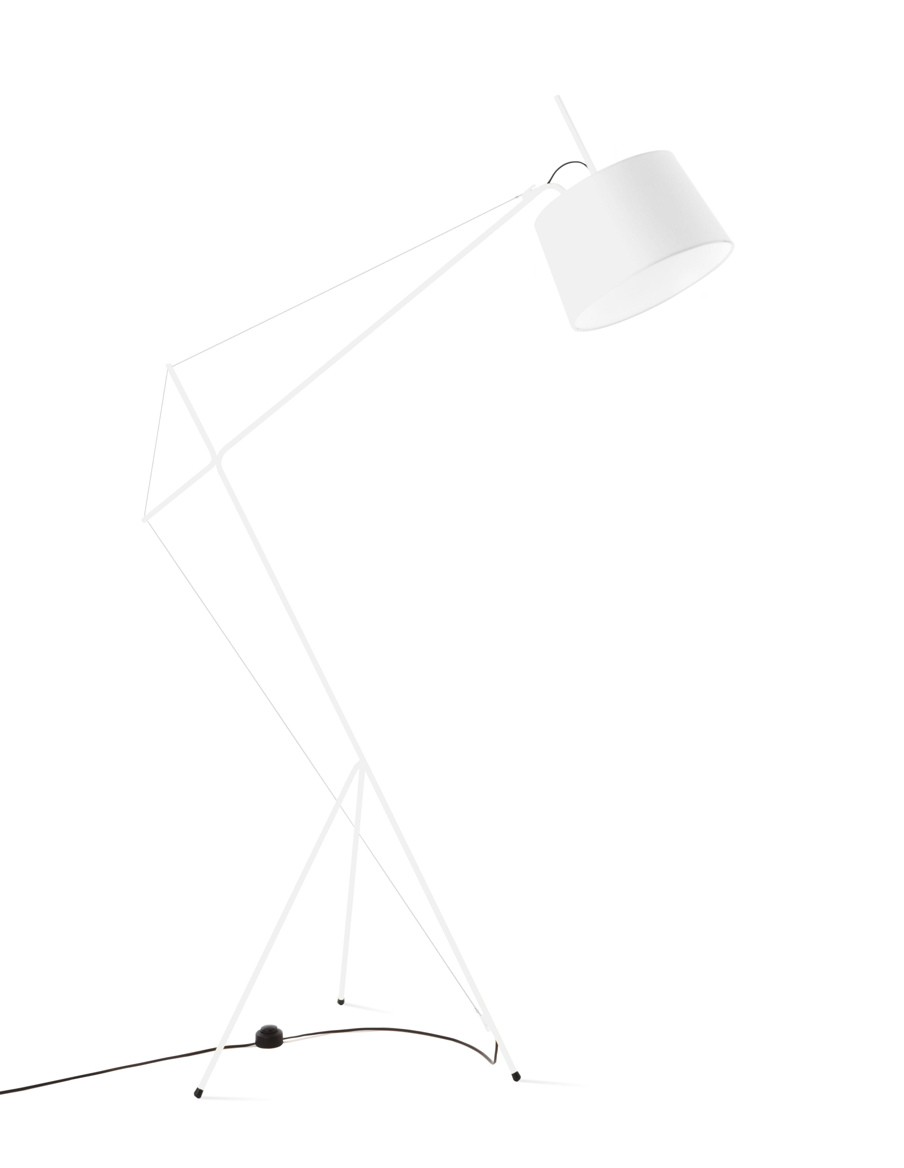 Illuminazione - Lampade da terra - Lampada Elisabeth / H 158 cm - Hartô - Bianco - Acciaio, Cotone