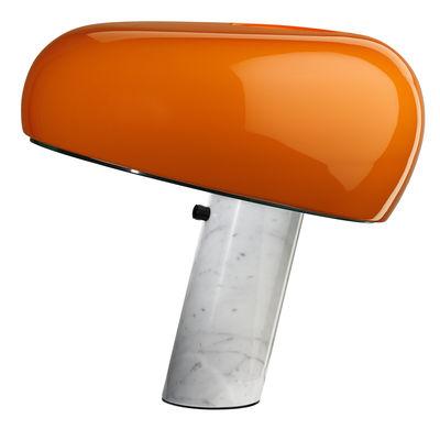 Illuminazione - Lampade da tavolo - Lampada da tavolo Snoopy / Edizione limitata - Metallo & base marmo - Flos - Arancione / Base bianca - Marmo di Carrara, Metallo smaltato
