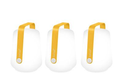 Illuminazione - Lampade da tavolo - Lampada senza fili Balad - / H 13,5 cm - Set di 3 lampade di Fermob - Miele - Alluminio, Polietilene