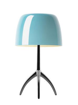 Lampe de table Lumière Piccola / Variateur - H 35 cm - Foscarini turquoise,noir chromé en métal