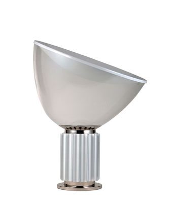 Lampe de table Taccia LED Small / Diffuseur verre - H 48 cm - Flos gris/argent/transparent en métal/verre