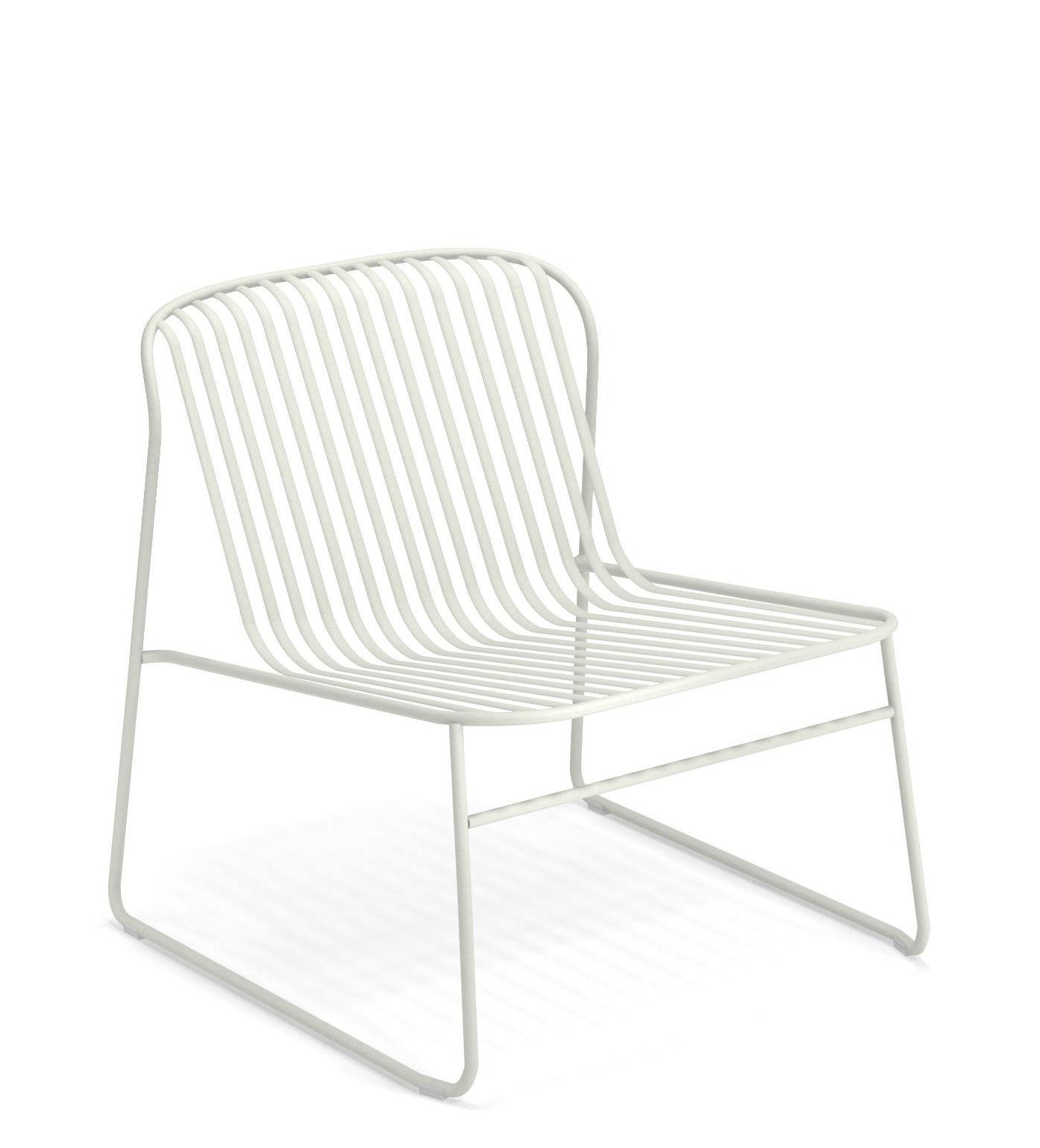 Möbel - Lounge Sessel - Riviera Lounge Sessel / Metall - Emu - Weiß - gefirnister Stahl
