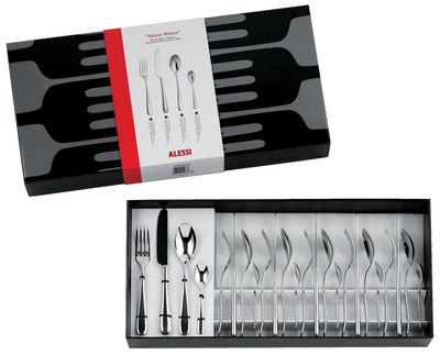 Ménagère Nuovo Milano / Coffret 24 couverts - Version monobloc - Alessi acier poli en métal