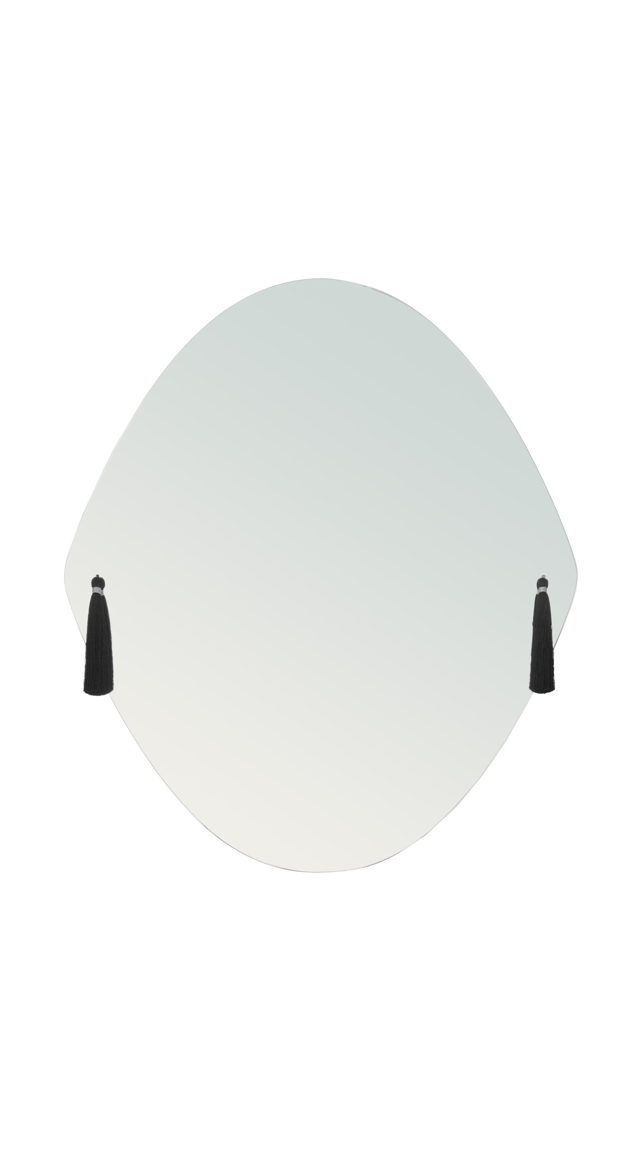 Déco - Miroirs - Miroir mural Panache Medium / L 50 x H 58 cm - 6 pompons interchangeables - Petite Friture - Medium - Tissu, Verre