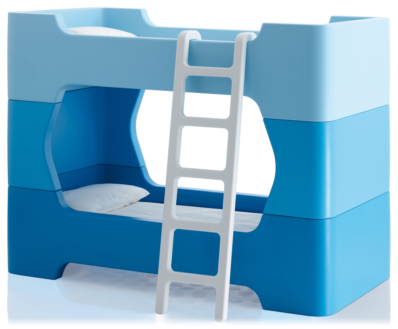 Mobilier - Lits - Module Bunky /2 modules intermédiaires et 1 échelle - Magis Collection Me Too - Modules bleus / échelle blanche - Polyéthylène