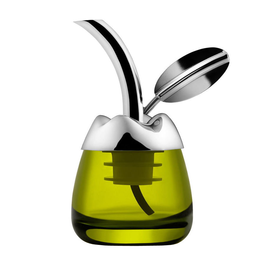Tischkultur - Öl und Essig - Fior d'olio Ölständer / Tester mit Universal-Ausguss - Alessi - Edelstahl, poliert - Acier inoxydable 18/10, Glas