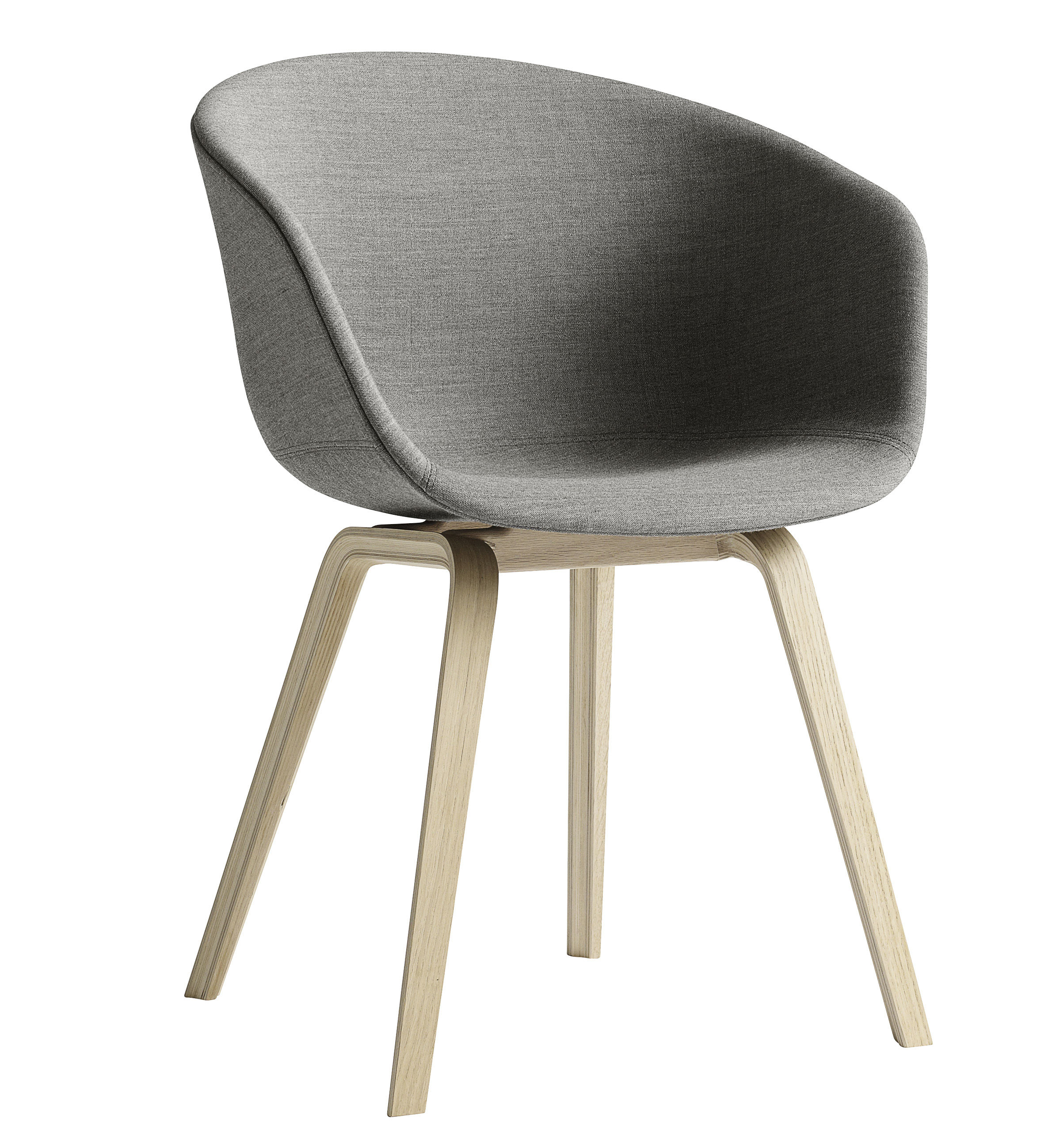 Furniture - Chairs - About a chair Padded armchair - 4 legs /Full fabric by Hay - Medium grey / Natural oak feet - Fabric, Oak, Polypropylene