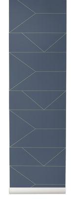 Déco - Stickers, papiers peints & posters - Papier peint Lines / 1 rouleau - Larg 53 cm - Ferm Living - Bleu / or - Toile intissée