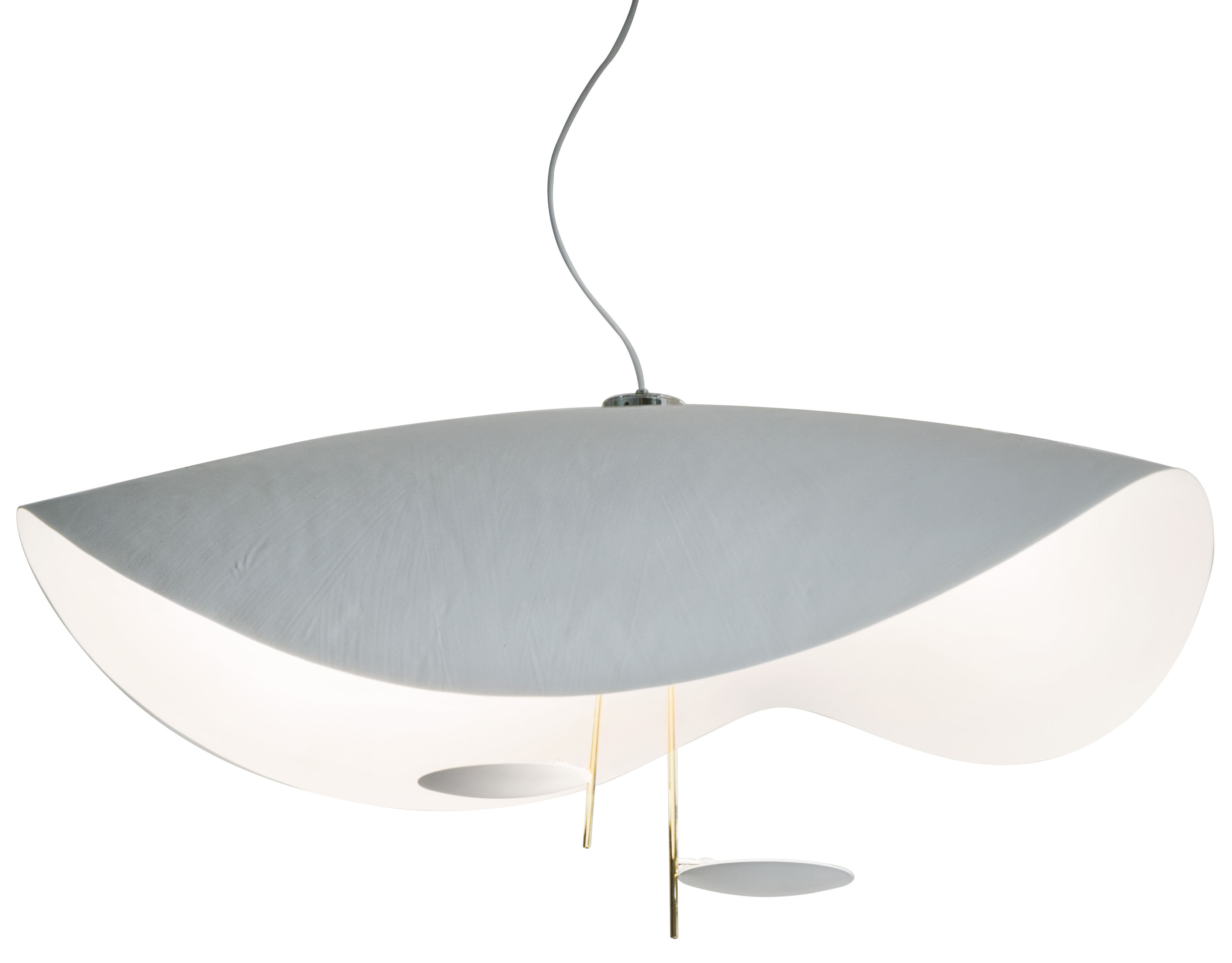 Lighting - Pendant Lighting - Lederam S2 Pendant by Catellani & Smith - White and gold - Fibreglass, Golden metal, Painted aluminium