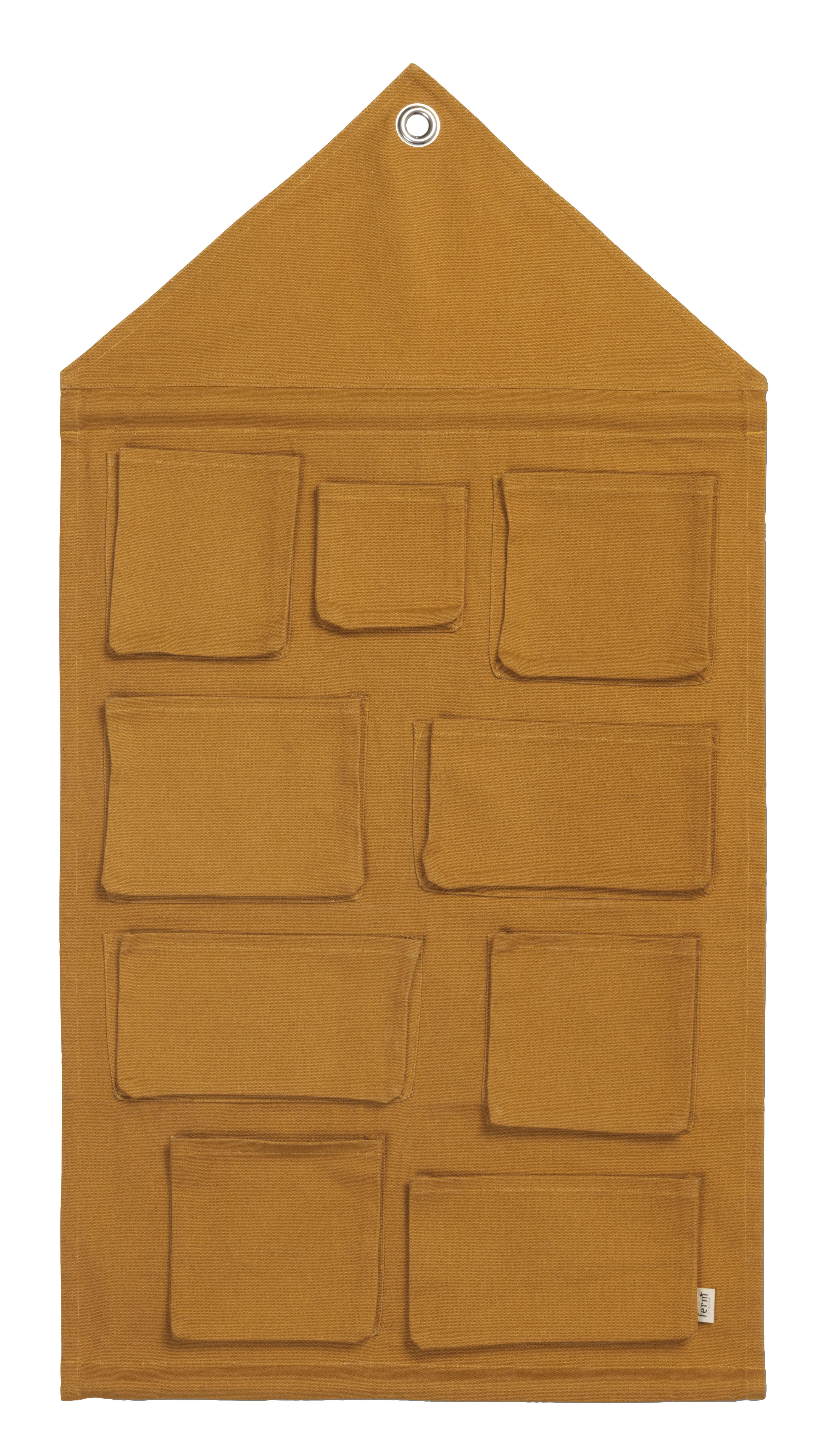 Interni - Per bambini - Portaoggetti da parete House - / Tessuto - L 80 x H 98 cm di Ferm Living - Giallo senape - Cotone