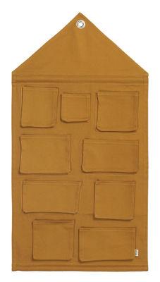 Rangement mural House / Tissu - L 80 x H 98 cm - Ferm Living jaune moutarde en tissu