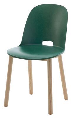 Image of Sedia Alfi / Base frassino - Emeco - Verde - Materiale plastico/Legno