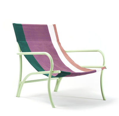 Möbel - Lounge Sessel - Maraca Sessel / Baumwolle - ames - Violett & grün / Minze - Baumwolle, lackierter Stahl