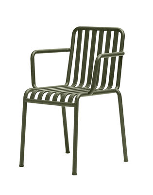 Furniture - Chairs - Palissade Stackable armchair - R & E Bouroullec by Hay - Olive green - Electro galvanized steel, Peinture époxy