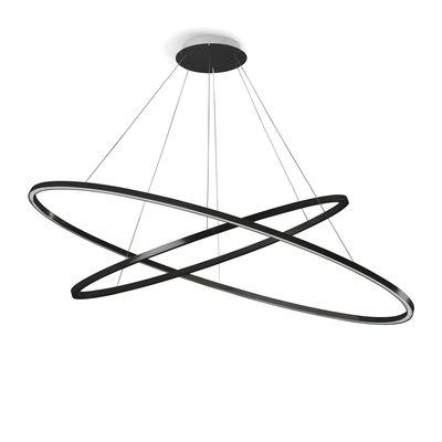 Luminaire - Suspensions - Suspension Ellisse Double LED / Ø 135 cm - Nemo - Noir - Aluminium extrudé
