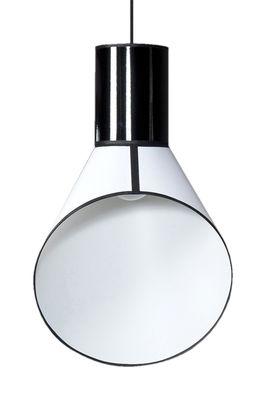 Luminaire - Suspensions - Suspension Petit Cargo H 67 cm - Designheure - Cylindre noir / Cheninée blanche - Acier, Percaline de coton