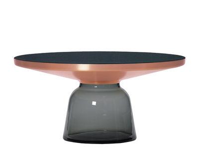 Table basse Bell Coffee / Ø 75 x H 36 cm - Plateau verre - ClassiCon gris/noir/cuivre en métal/verre