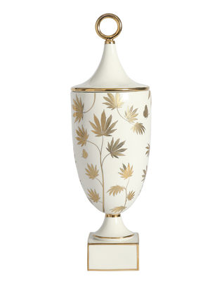 Déco - Vases - Vase Botanist Ganja / Avec couvercle - Feuille cannabis - Jonathan Adler - Ganja / Blanc & or - Or fin, Porcelaine