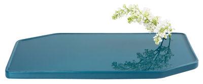 Dekoration - Vasen - Plan Vase / flache Vase aus Keramik - klein - 50 x 30 cm - Moustache - Türkisblau - emaillierte Keramik