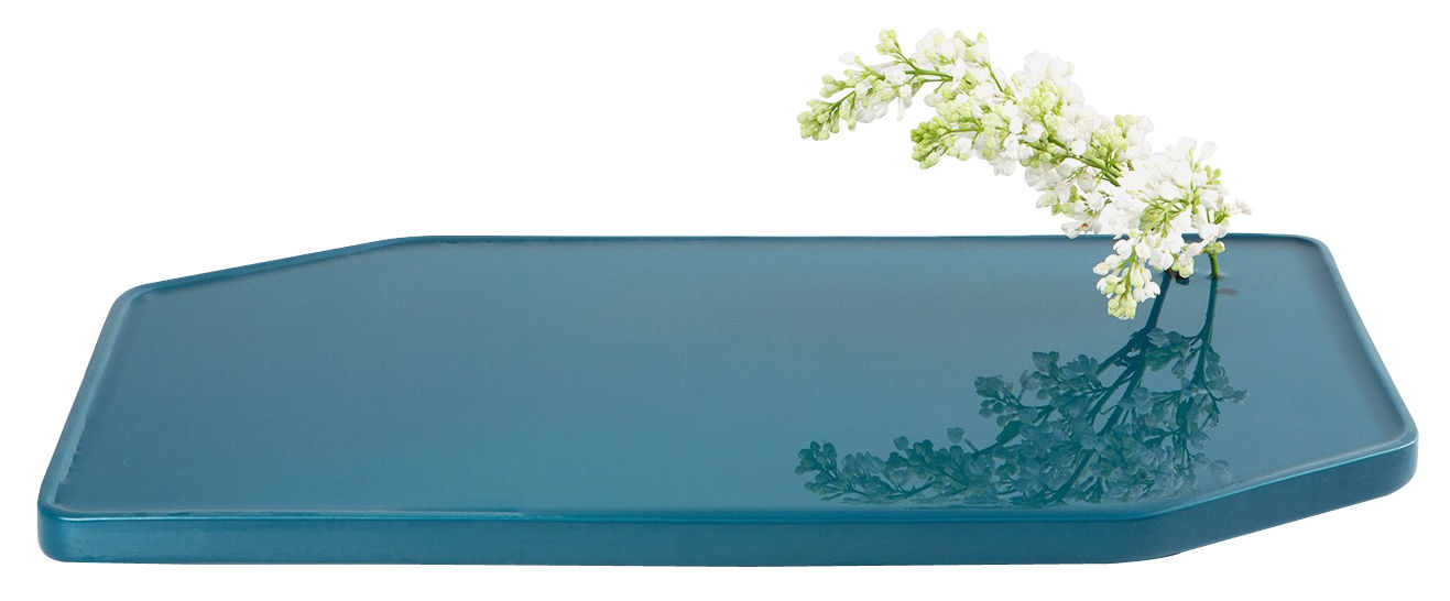 Decoration - Vases - Plan Vase - Large - 50 x 30 cm by Moustache - Turquoise - Glazed ceramic